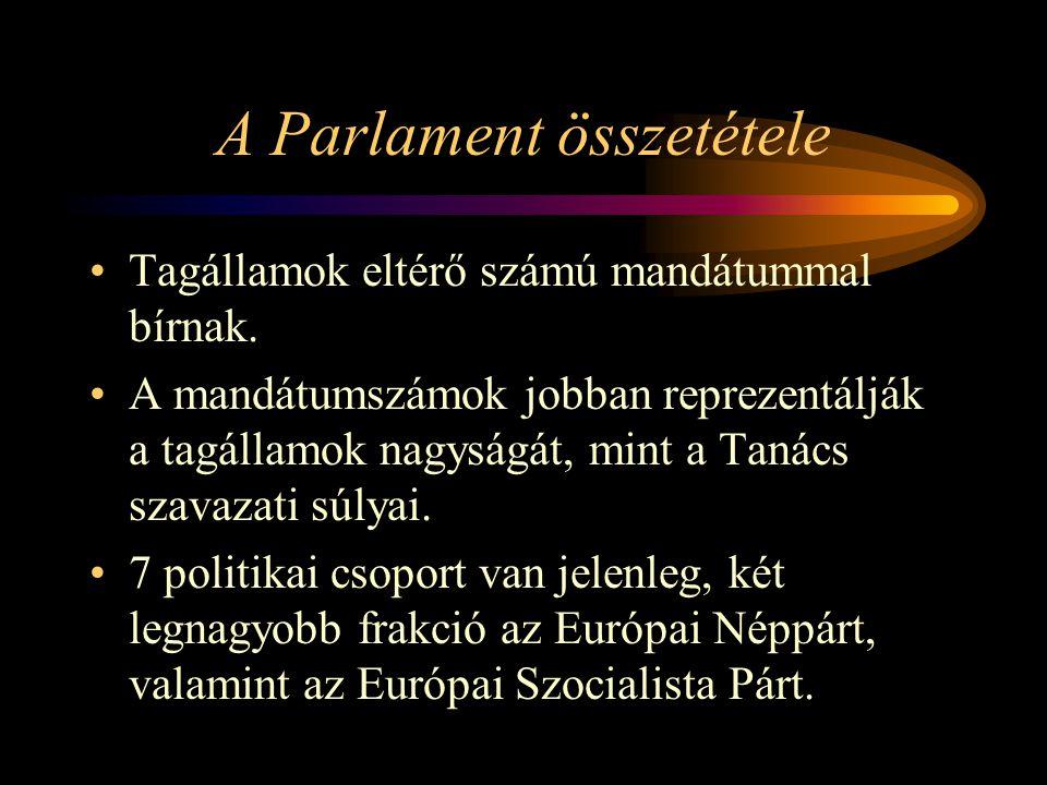 A Parlament összetétele Tagállamok eltérő számú mandátummal bírnak. A mandátumszámok jobban reprezentálják a tagállamok nagyságát, mint a Tanács szava