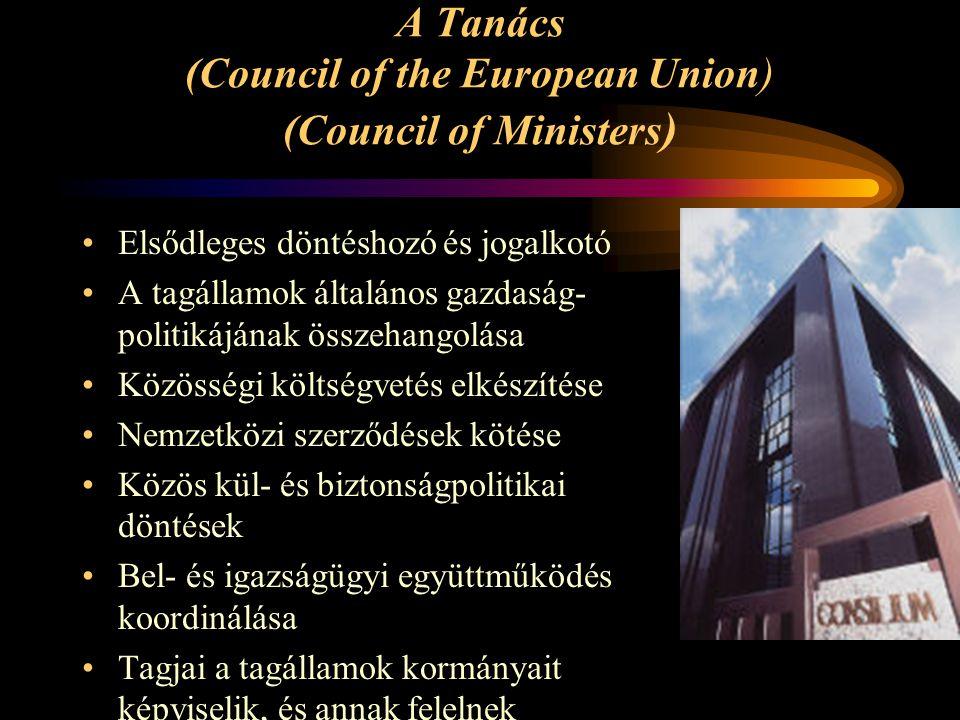 A Tanács (Council of the European Union) (Council of Ministers ) Elsődleges döntéshozó és jogalkotó A tagállamok általános gazdaság- politikájának öss