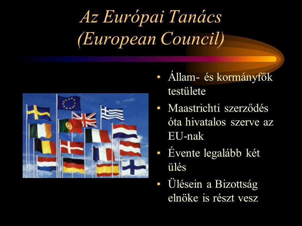 Az Európai Tanács (European Council) Állam- és kormányfők testülete Maastrichti szerződés óta hivatalos szerve az EU-nak Évente legalább két ülés Ülés