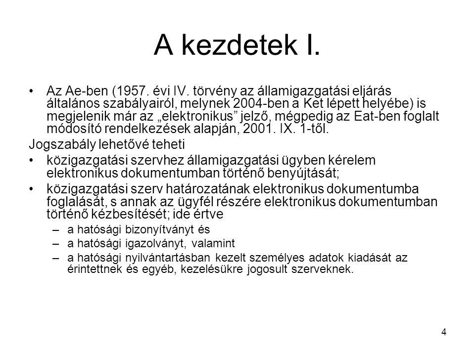 4 A kezdetek I. Az Ae-ben (1957. évi IV. törvény az államigazgatási eljárás általános szabályairól, melynek 2004-ben a Ket lépett helyébe) is megjelen