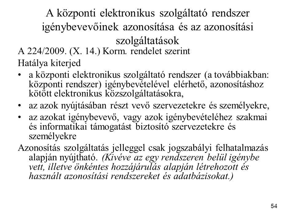 54 A központi elektronikus szolgáltató rendszer igénybevevőinek azonosítása és az azonosítási szolgáltatások A 224/2009. (X. 14.) Korm. rendelet szeri