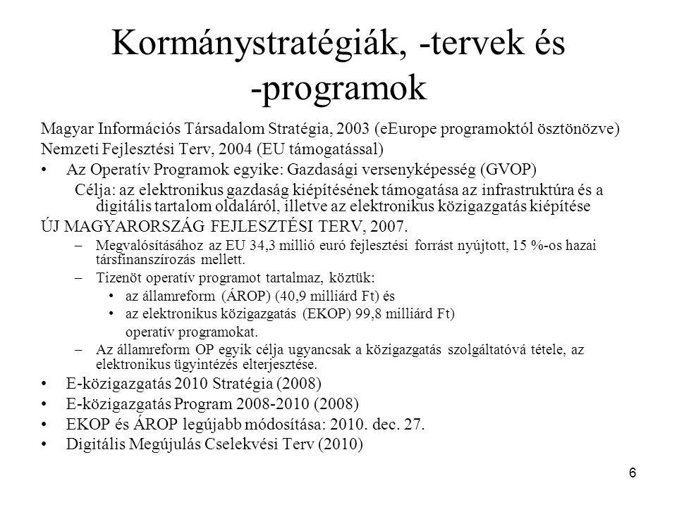 6 Kormánystratégiák, -tervek és -programok Magyar Információs Társadalom Stratégia, 2003 (eEurope programoktól ösztönözve) Nemzeti Fejlesztési Terv, 2004 (EU támogatással) Az Operatív Programok egyike: Gazdasági versenyképesség (GVOP) Célja: az elektronikus gazdaság kiépítésének támogatása az infrastruktúra és a digitális tartalom oldaláról, illetve az elektronikus közigazgatás kiépítése ÚJ MAGYARORSZÁG FEJLESZTÉSI TERV, 2007.