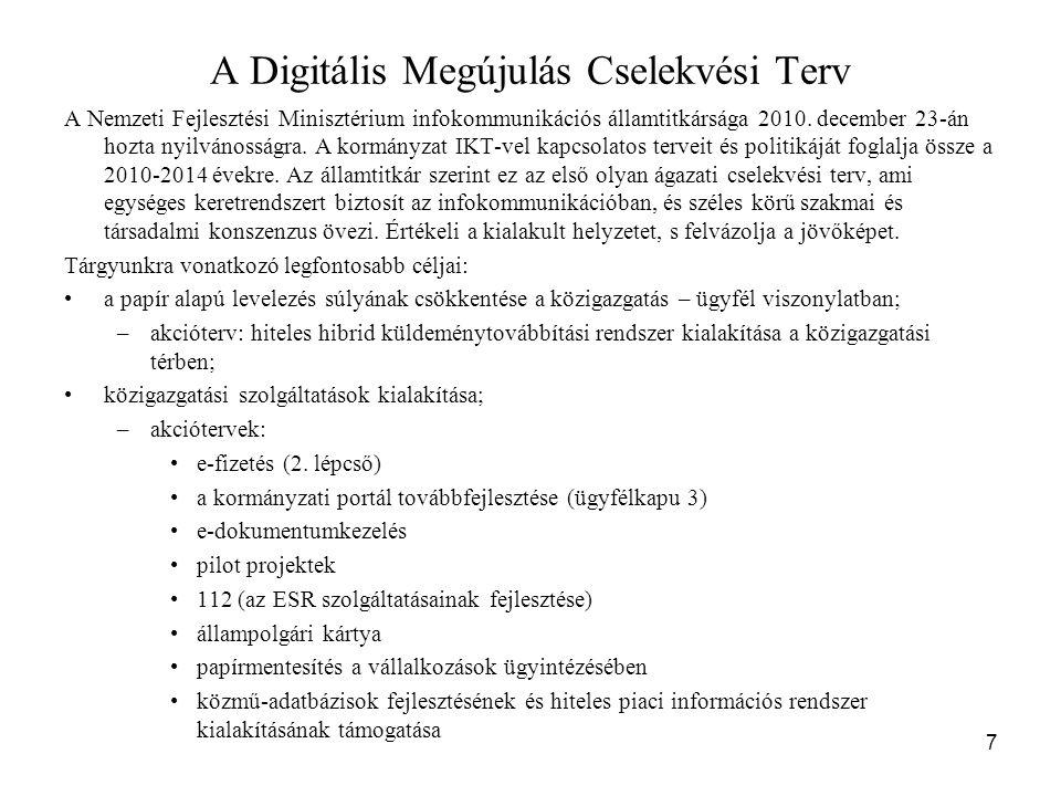 7 A Digitális Megújulás Cselekvési Terv A Nemzeti Fejlesztési Minisztérium infokommunikációs államtitkársága 2010. december 23-án hozta nyilvánosságra