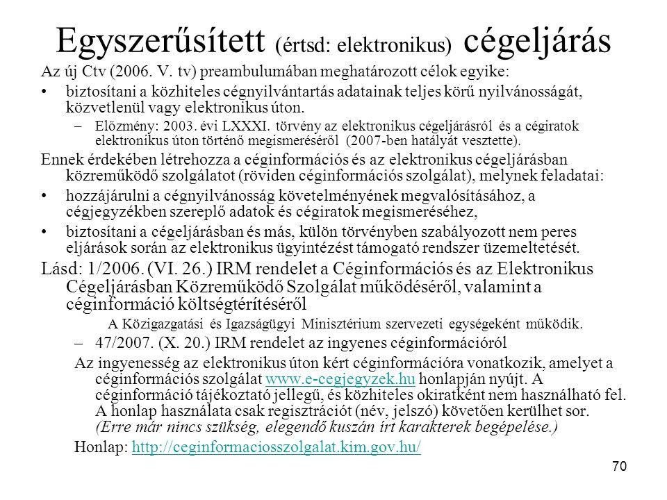 70 Egyszerűsített (értsd: elektronikus) cégeljárás Az új Ctv (2006.