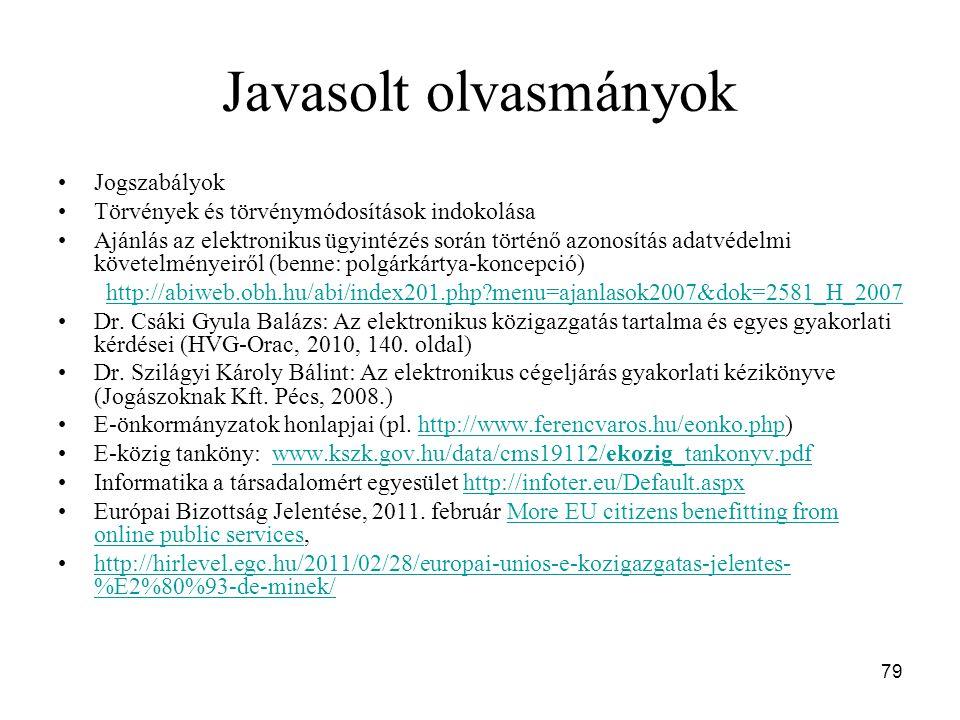 79 Javasolt olvasmányok Jogszabályok Törvények és törvénymódosítások indokolása Ajánlás az elektronikus ügyintézés során történő azonosítás adatvédelmi követelményeiről (benne: polgárkártya-koncepció) http://abiweb.obh.hu/abi/index201.php?menu=ajanlasok2007&dok=2581_H_2007 Dr.