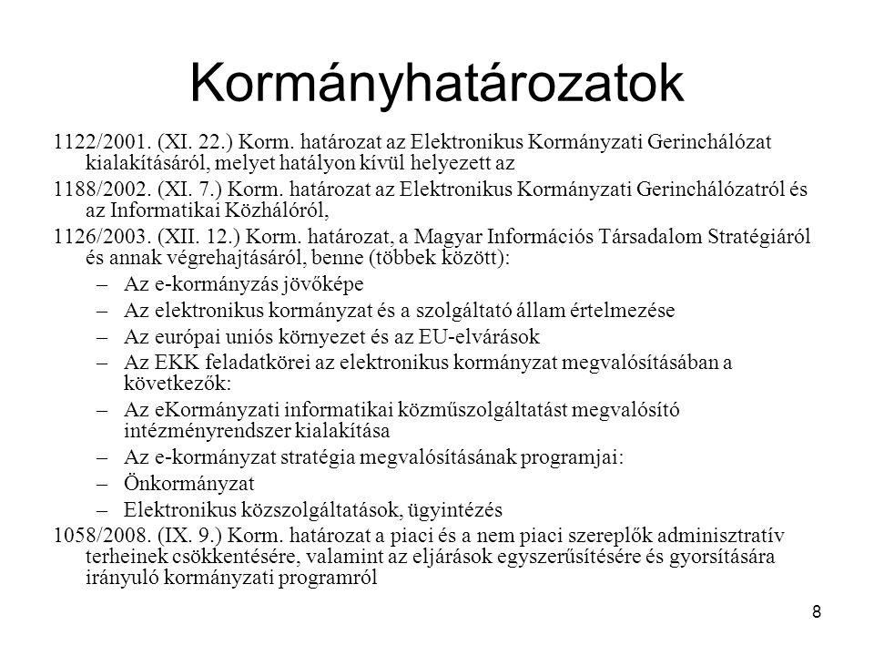8 Kormányhatározatok 1122/2001. (XI. 22.) Korm. határozat az Elektronikus Kormányzati Gerinchálózat kialakításáról, melyet hatályon kívül helyezett az