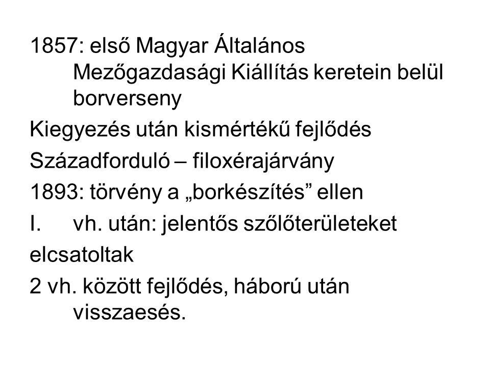 1857: első Magyar Általános Mezőgazdasági Kiállítás keretein belül borverseny Kiegyezés után kismértékű fejlődés Századforduló – filoxérajárvány 1893: