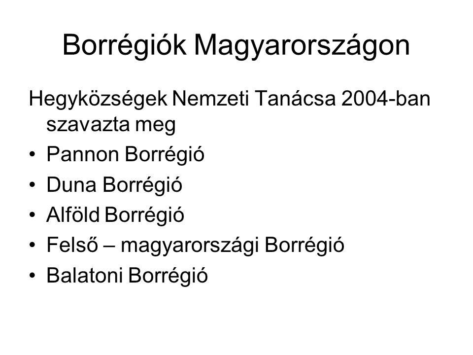 Borrégiók Magyarországon Hegyközségek Nemzeti Tanácsa 2004-ban szavazta meg Pannon Borrégió Duna Borrégió Alföld Borrégió Felső – magyarországi Borrég
