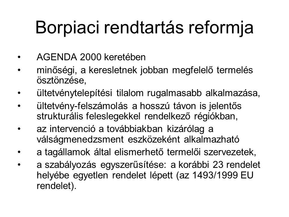 Borpiaci rendtartás reformja AGENDA 2000 keretében minőségi, a keresletnek jobban megfelelő termelés ösztönzése, ültetvénytelepítési tilalom rugalmasa