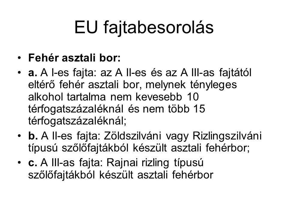 EU fajtabesorolás Fehér asztali bor: a. A I-es fajta: az A II-es és az A III-as fajtától eltérő fehér asztali bor, melynek tényleges alkohol tartalma