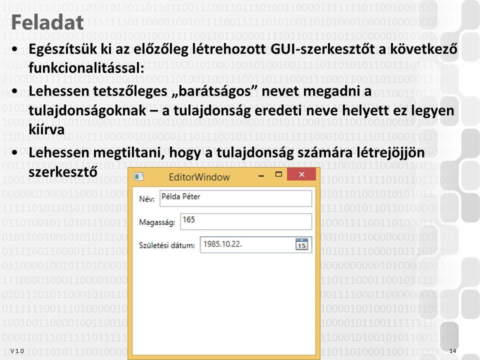 """V 1.0 Feladat Egészítsük ki az előzőleg létrehozott GUI-szerkesztőt a következő funkcionalitással: Lehessen tetszőleges """"barátságos nevet megadni a tulajdonságoknak – a tulajdonság eredeti neve helyett ez legyen kiírva Lehessen megtiltani, hogy a tulajdonság számára létrejöjjön szerkesztő OE-NIK HP 14"""