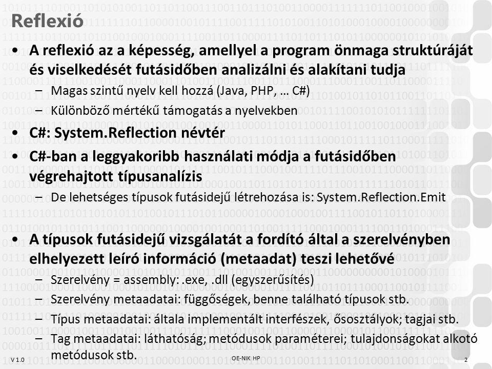 V 1.0 Saját attribútum Saját attribútum létrehozása Attribútum elérése reflexióval –Az eddig említett módszerek is ezt használják OE-NIK HP 13 [AttributeUsage(AttributeTargets.Property)] class HelpAttribute : Attribute { public string HelpURL { get; private set; } public HelpAttribute( string helpURL) { this.HelpURL = helpURL; } [Help( http://path.to.my.help.for.setting1.html )] public string Setting1 { get; set; } //PropertyInfo propertyInfo = typeof(Settings).GetProperty( Setting1 ); HelpAttribute helpAttribute = propertyInfo.GetCustomAttribute (); Console.WriteLine(helpAttribute.HelpURL);