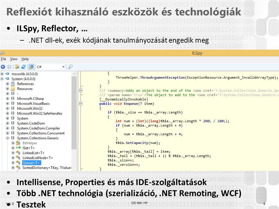 V 1.0 Reflexiót kihasználó eszközök és technológiák ILSpy, Reflector, … –.NET dll-ek, exék kódjának tanulmányozását engedik meg Intellisense, Properties és más IDE-szolgáltatások Több.NET technológia (szerializáció,.NET Remoting, WCF) Tesztek OE-NIK HP 4