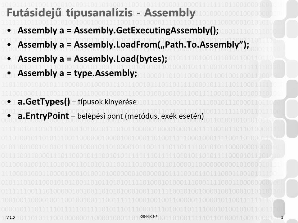 """V 1.0 Futásidejű típusanalízis - Assembly Assembly a = Assembly.GetExecutingAssembly(); Assembly a = Assembly.LoadFrom(""""Path.To.Assembly ); Assembly a = Assembly.Load(bytes); Assembly a = type.Assembly; a.GetTypes() – típusok kinyerése a.EntryPoint – belépési pont (metódus, exék esetén) OE-NIK HP 5"""