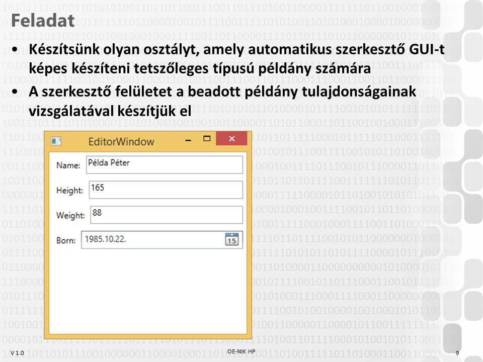 V 1.0 Feladat Készítsünk olyan osztályt, amely automatikus szerkesztő GUI-t képes készíteni tetszőleges típusú példány számára A szerkesztő felületet a beadott példány tulajdonságainak vizsgálatával készítjük el OE-NIK HP 9