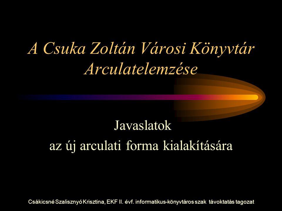 Csákicsné Szalisznyó Krisztina, EKF II. évf. informatikus-könyvtáros szak távoktatás tagozat A Csuka Zoltán Városi Könyvtár Arculatelemzése Javaslatok