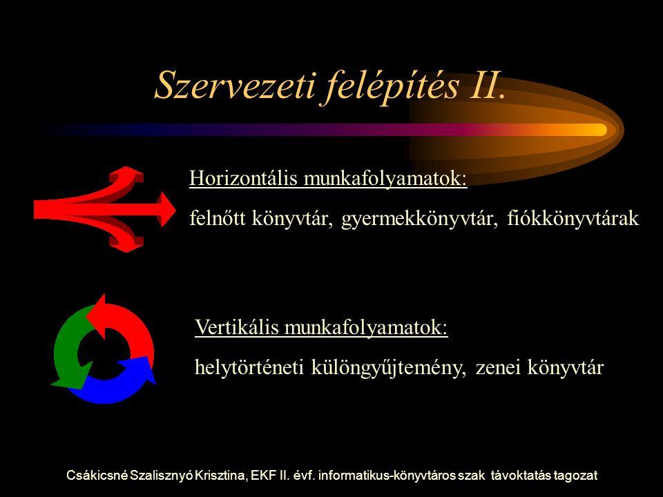 Csákicsné Szalisznyó Krisztina, EKF II. évf. informatikus-könyvtáros szak távoktatás tagozat Szervezeti felépítés II. Horizontális munkafolyamatok: fe