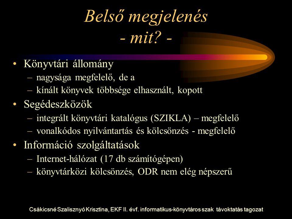 Csákicsné Szalisznyó Krisztina, EKF II. évf. informatikus-könyvtáros szak távoktatás tagozat Belső megjelenés - mit? - Könyvtári állomány –nagysága me