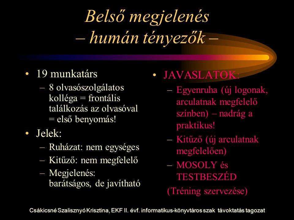 Csákicsné Szalisznyó Krisztina, EKF II. évf. informatikus-könyvtáros szak távoktatás tagozat Belső megjelenés – humán tényezők – 19 munkatárs –8 olvas