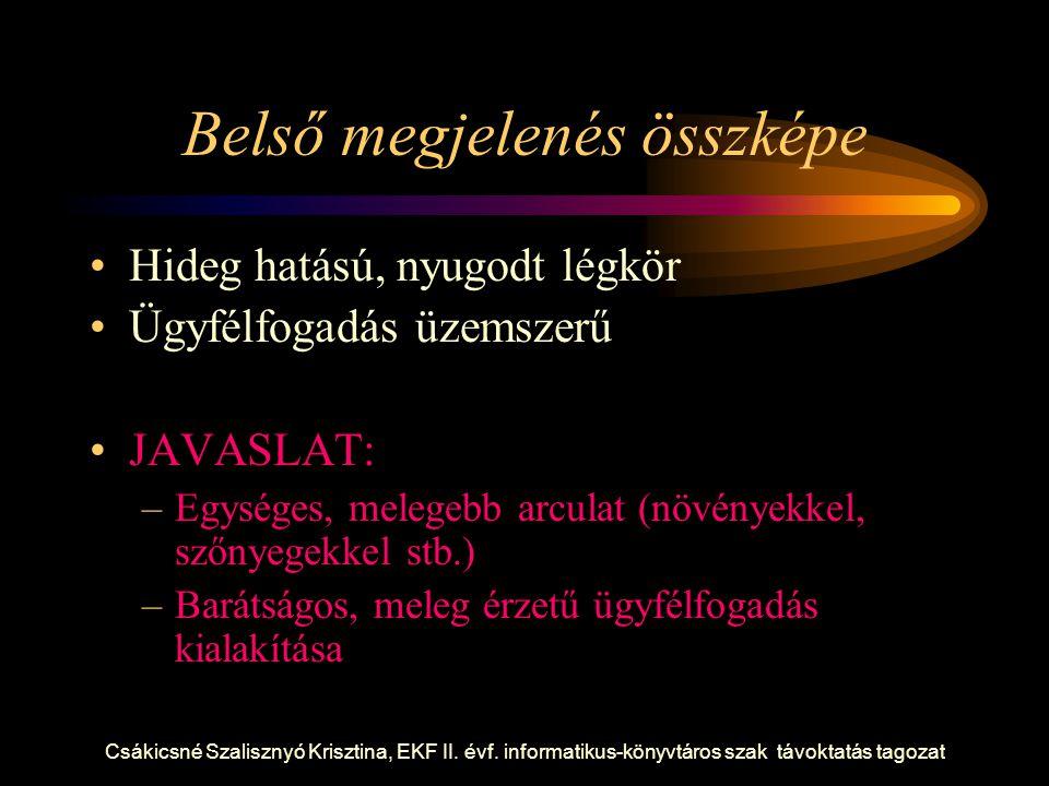 Csákicsné Szalisznyó Krisztina, EKF II. évf. informatikus-könyvtáros szak távoktatás tagozat Belső megjelenés összképe Hideg hatású, nyugodt légkör Üg
