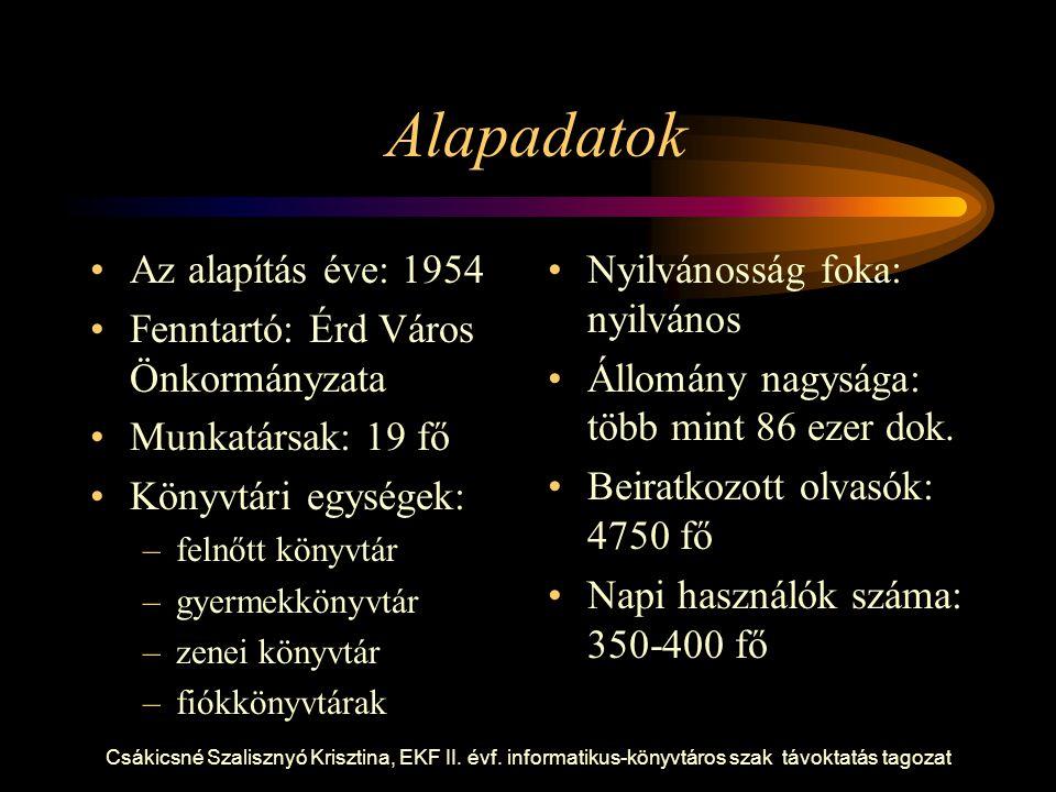 Csákicsné Szalisznyó Krisztina, EKF II. évf. informatikus-könyvtáros szak távoktatás tagozat Alapadatok Az alapítás éve: 1954 Fenntartó: Érd Város Önk