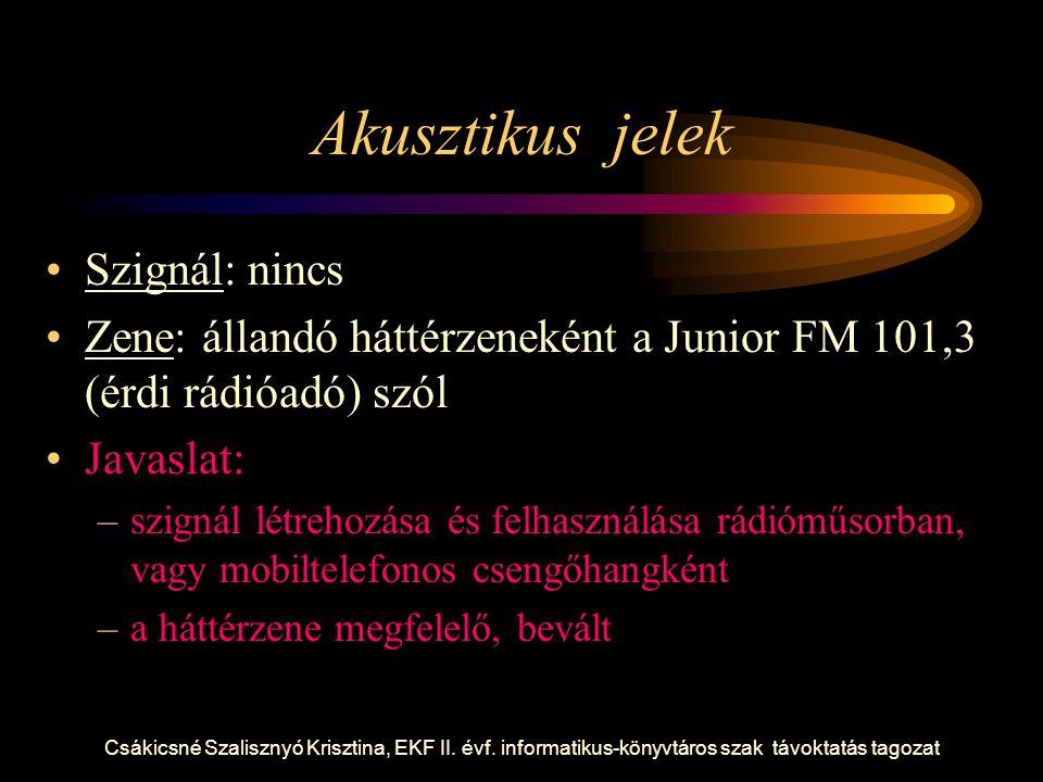 Csákicsné Szalisznyó Krisztina, EKF II. évf. informatikus-könyvtáros szak távoktatás tagozat Akusztikus jelek Szignál: nincs Zene: állandó háttérzenek