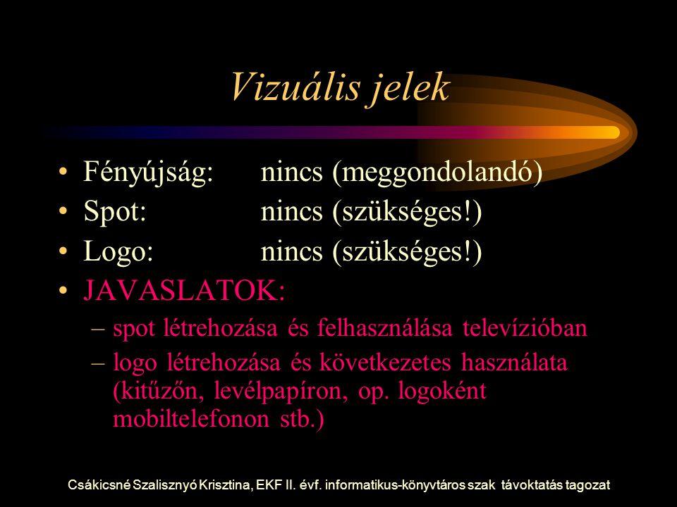 Csákicsné Szalisznyó Krisztina, EKF II. évf. informatikus-könyvtáros szak távoktatás tagozat Vizuális jelek Fényújság:nincs (meggondolandó) Spot:nincs
