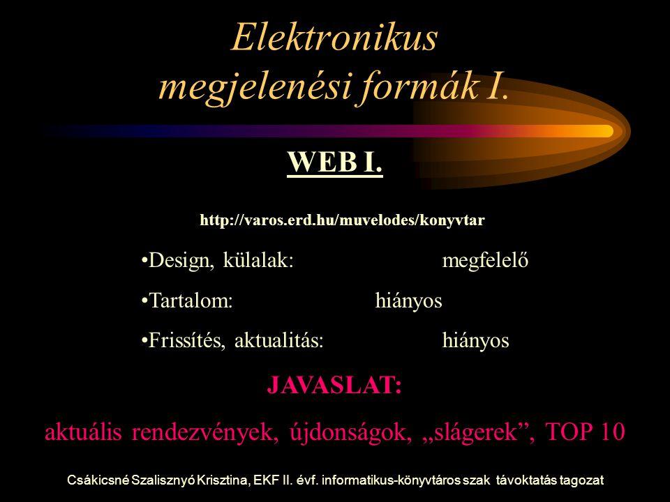 Csákicsné Szalisznyó Krisztina, EKF II. évf. informatikus-könyvtáros szak távoktatás tagozat Elektronikus megjelenési formák I. WEB I. http://varos.er