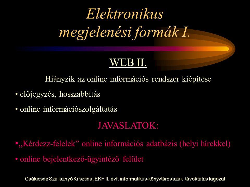 Csákicsné Szalisznyó Krisztina, EKF II. évf. informatikus-könyvtáros szak távoktatás tagozat Elektronikus megjelenési formák I. WEB II. Hiányzik az on