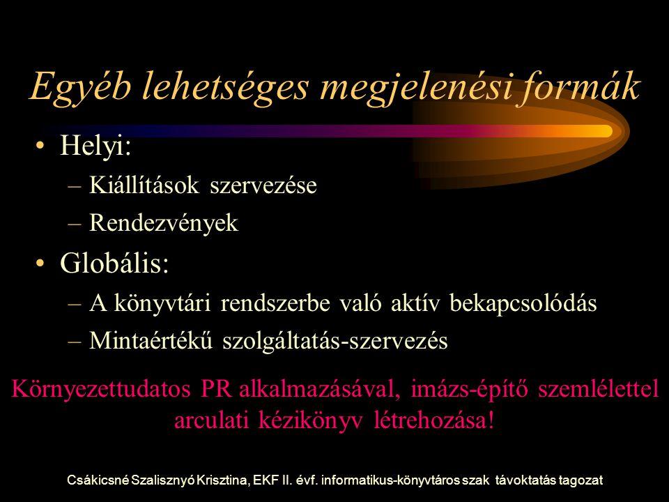 Csákicsné Szalisznyó Krisztina, EKF II. évf. informatikus-könyvtáros szak távoktatás tagozat Egyéb lehetséges megjelenési formák Helyi: –Kiállítások s
