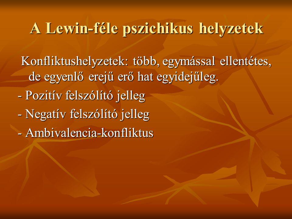A Lewin-féle pszichikus helyzetek Konfliktushelyzetek: több, egymással ellentétes, de egyenlő erejű erő hat egyidejűleg. Konfliktushelyzetek: több, eg