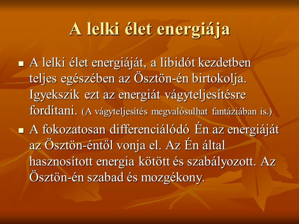 A lelki élet energiája A lelki élet energiáját, a libidót kezdetben teljes egészében az Ösztön-én birtokolja. Igyekszik ezt az energiát vágyteljesítés