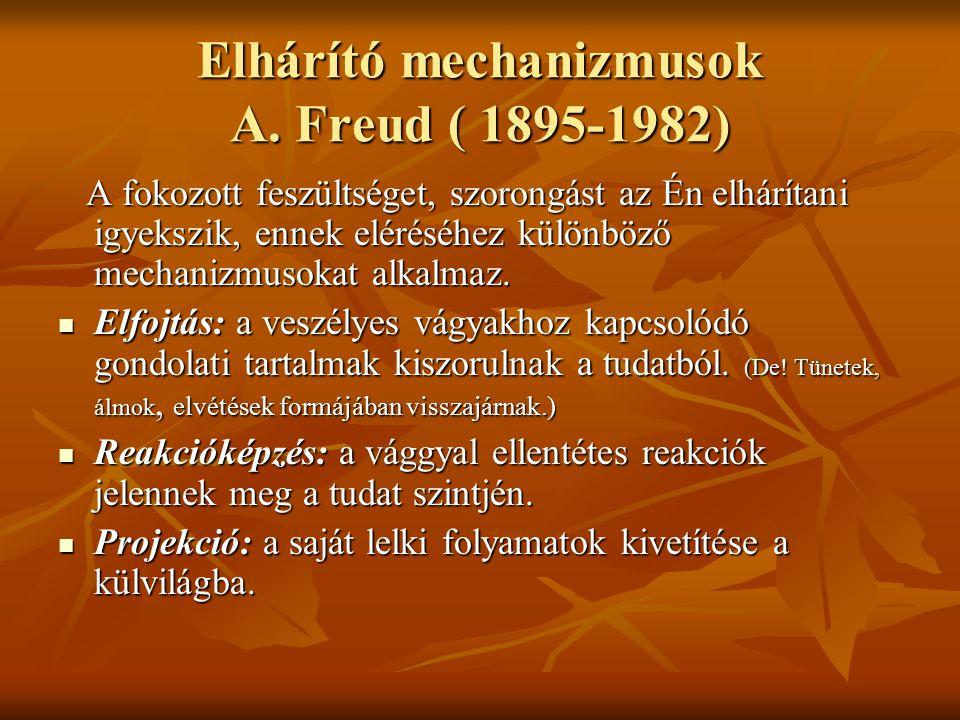 Elhárító mechanizmusok A. Freud ( 1895-1982) A fokozott feszültséget, szorongást az Én elhárítani igyekszik, ennek eléréséhez különböző mechanizmusoka