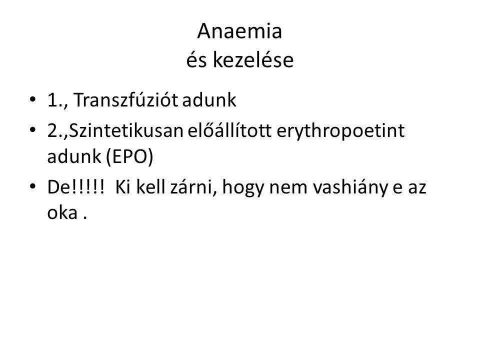 Anaemia és kezelése 1., Transzfúziót adunk 2.,Szintetikusan előállított erythropoetint adunk (EPO) De!!!!! Ki kell zárni, hogy nem vashiány e az oka.