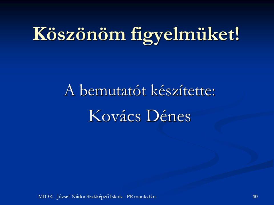 10MIOK - József Nádor Szakképző Iskola - PR munkatárs Köszönöm figyelmüket.