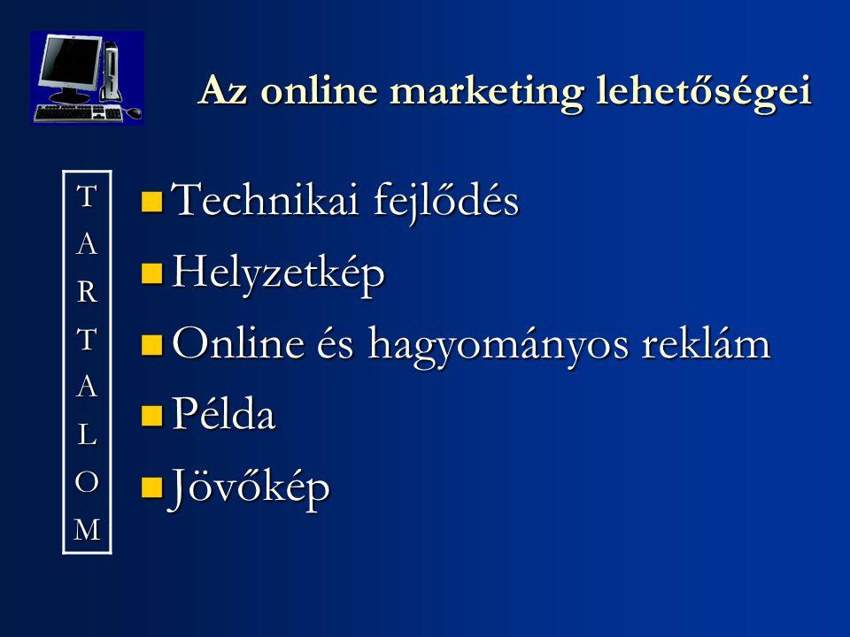 Technikai fejlődés Technikai fejlődés Helyzetkép Helyzetkép Online és hagyományos reklám Online és hagyományos reklám Példa Példa Jövőkép Jövőkép Az online marketing lehetőségei TARTALOM
