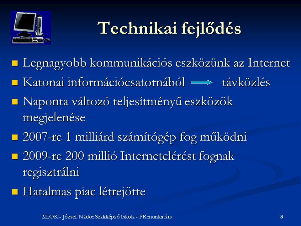 3MIOK - József Nádor Szakképző Iskola - PR munkatárs Technikai fejlődés Legnagyobb kommunikációs eszközünk az Internet Katonai információcsatornábóltávközlés Naponta változó teljesítményű eszközök megjelenése 2007-re 1 milliárd számítógép fog működni 2009-re 200 millió Internetelérést fognak regisztrálni Hatalmas piac létrejötte