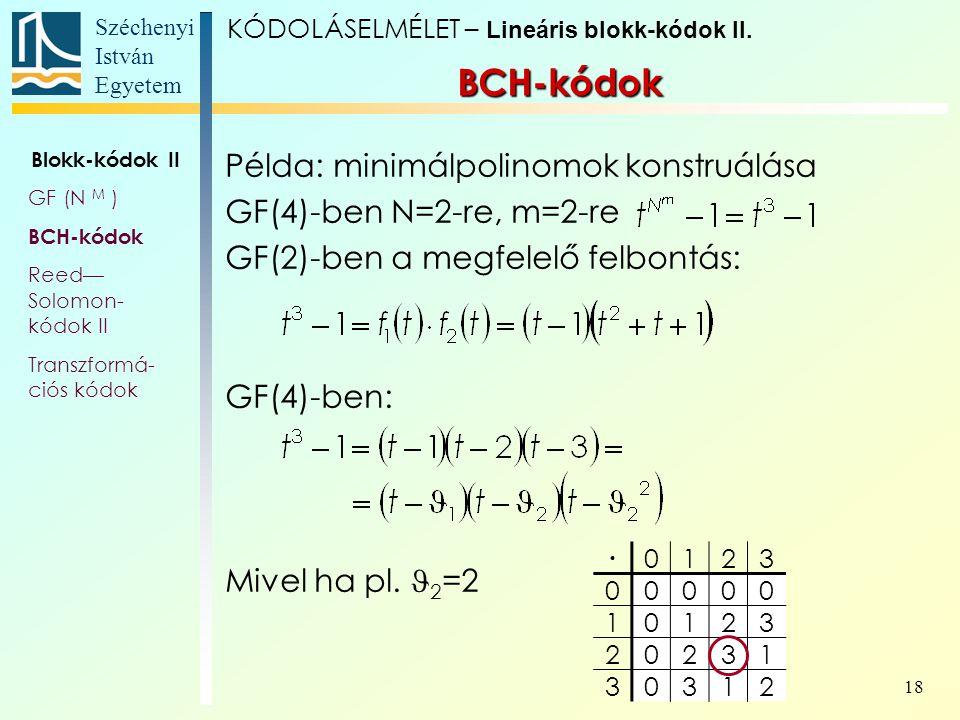 Széchenyi István Egyetem 18 Példa: minimálpolinomok konstruálása GF(4)-ben N=2-re, m=2-re GF(2)-ben a megfelelő felbontás: GF(4)-ben: Mivel ha pl. 2 =