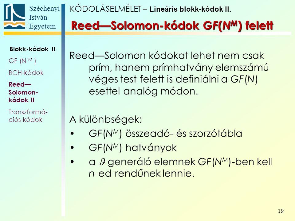 Széchenyi István Egyetem 19 Reed—Solomon kódokat lehet nem csak prím, hanem prímhatvány elemszámú véges test felett is definiálni a GF(N) esettel anal