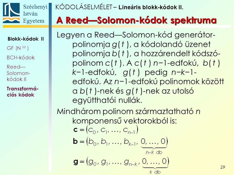 Széchenyi István Egyetem 29 A Reed—Solomon-kódok spektruma Legyen a Reed—Solomon-kód generátor- polinomja g( t ), a kódolandó üzenet polinomja b( t ),