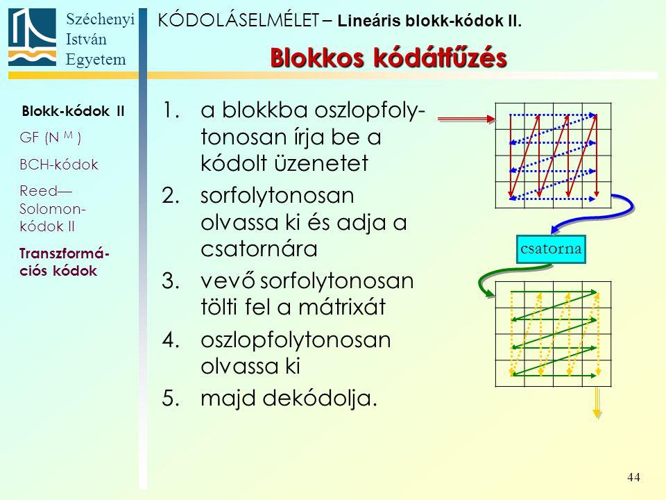 Széchenyi István Egyetem 44 1.a blokkba oszlopfoly- tonosan írja be a kódolt üzenetet 2.sorfolytonosan olvassa ki és adja a csatornára 3.vevő sorfolyt
