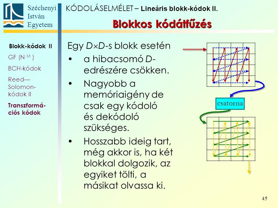 Széchenyi István Egyetem 45 Egy D  D-s blokk esetén a hibacsomó D- edrészére csökken. Nagyobb a memóriaigény de csak egy kódoló és dekódoló szükséges