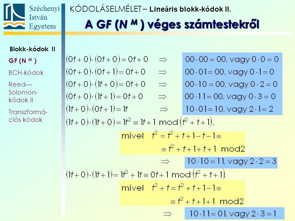Széchenyi István Egyetem 5 KÓDOLÁSELMÉLET – Lineáris blokk-kódok II. A GF ( N M ) véges számtestekről Blokk-kódok II GF (N M ) BCH-kódok Reed— Solomon