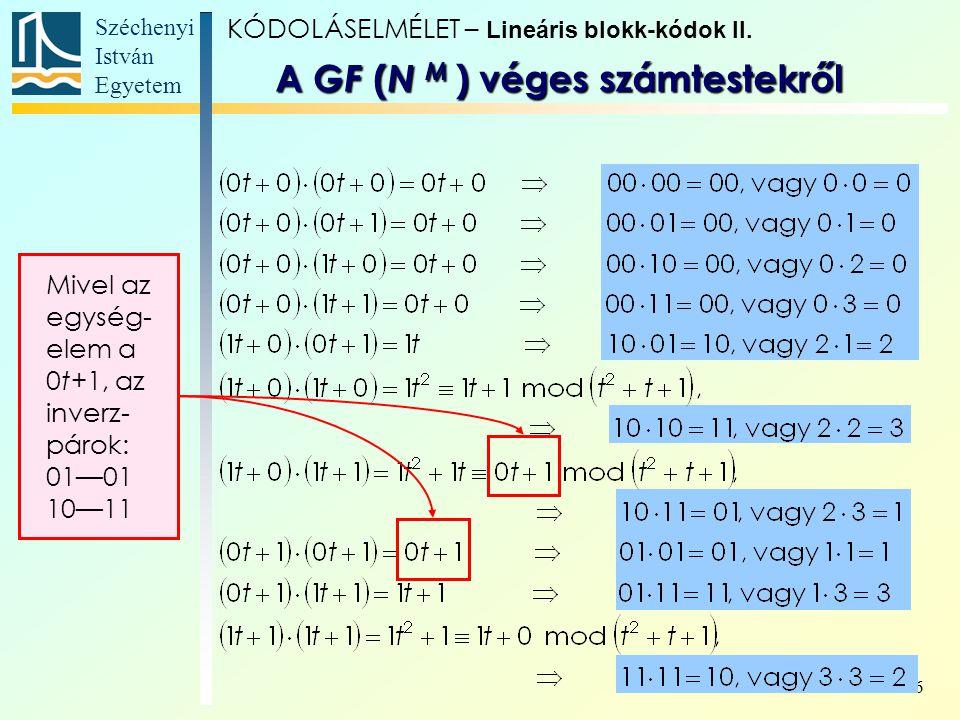Széchenyi István Egyetem 6 Mivel az egység- elem a 0t+1, az inverz- párok: 01—01 10—11 KÓDOLÁSELMÉLET – Lineáris blokk-kódok II. A GF ( N M ) véges sz