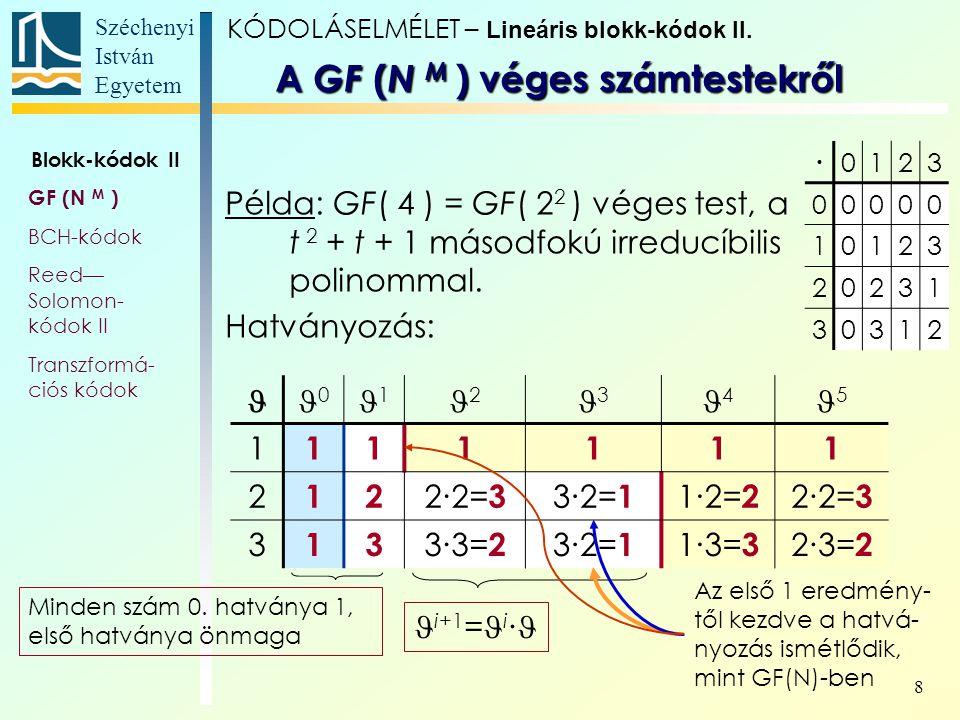 Széchenyi István Egyetem 8 Példa: GF( 4 ) = GF( 2 2 ) véges test, a t 2 + t + 1 másodfokú irreducíbilis polinommal. Hatványozás: 0 1 2 3 4 5 1 111111