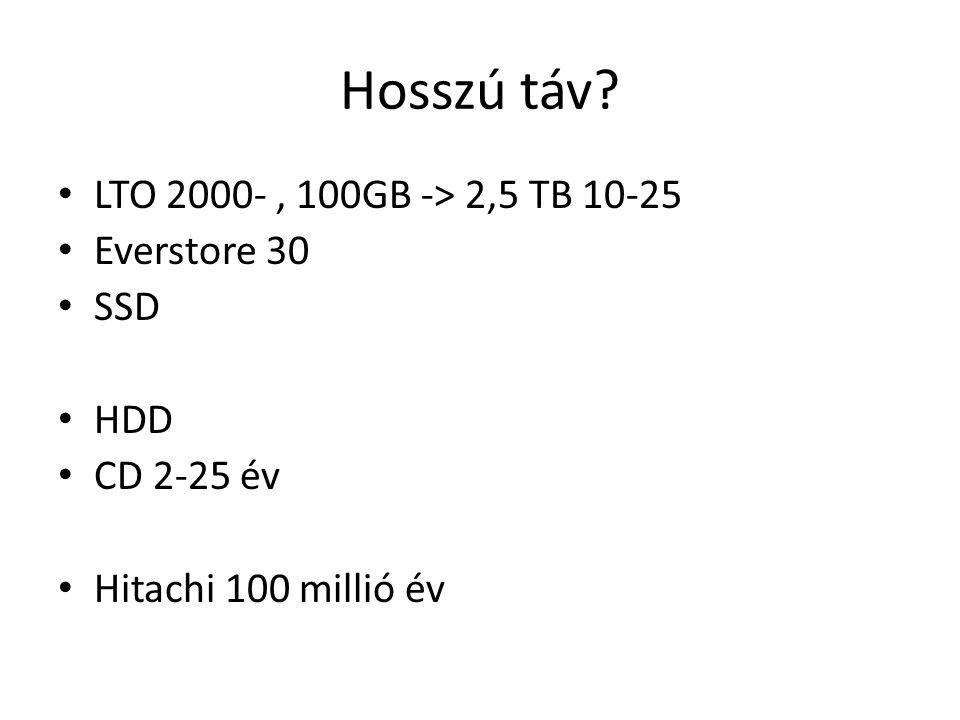 Hosszú táv LTO 2000-, 100GB -> 2,5 TB 10-25 Everstore 30 SSD HDD CD 2-25 év Hitachi 100 millió év