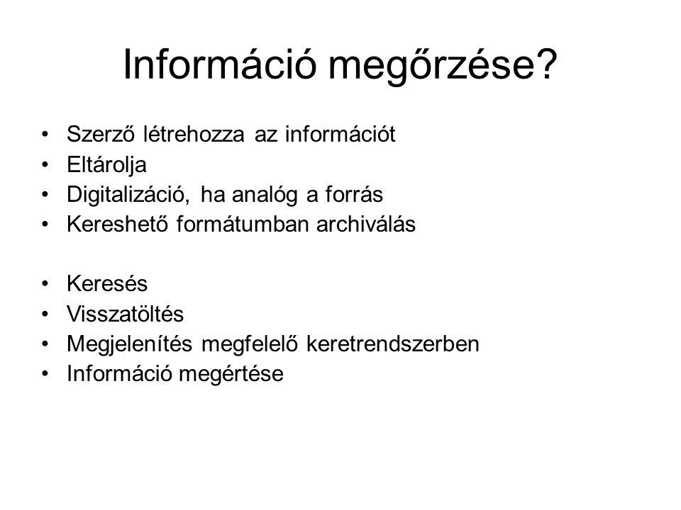 Információ megőrzése.