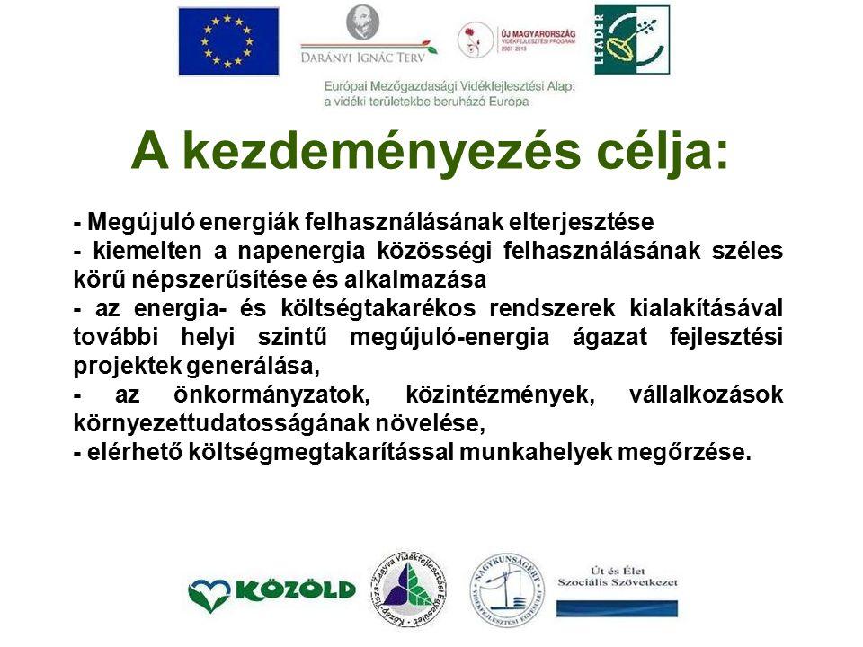 A kezdeményezés célja: - Megújuló energiák felhasználásának elterjesztése - kiemelten a napenergia közösségi felhasználásának széles körű népszerűsítése és alkalmazása - az energia- és költségtakarékos rendszerek kialakításával további helyi szintű megújuló-energia ágazat fejlesztési projektek generálása, - az önkormányzatok, közintézmények, vállalkozások környezettudatosságának növelése, - elérhető költségmegtakarítással munkahelyek megőrzése.