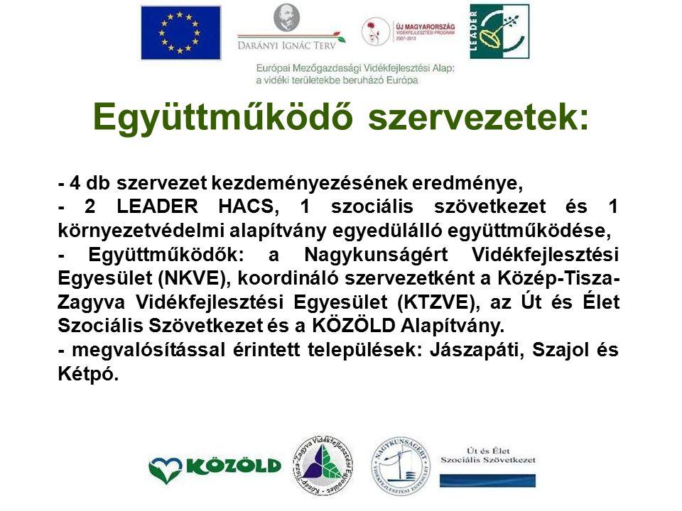 Együttműködő szervezetek: - 4 db szervezet kezdeményezésének eredménye, - 2 LEADER HACS, 1 szociális szövetkezet és 1 környezetvédelmi alapítvány egyedülálló együttműködése, - Együttműködők: a Nagykunságért Vidékfejlesztési Egyesület (NKVE), koordináló szervezetként a Közép-Tisza- Zagyva Vidékfejlesztési Egyesület (KTZVE), az Út és Élet Szociális Szövetkezet és a KÖZÖLD Alapítvány.