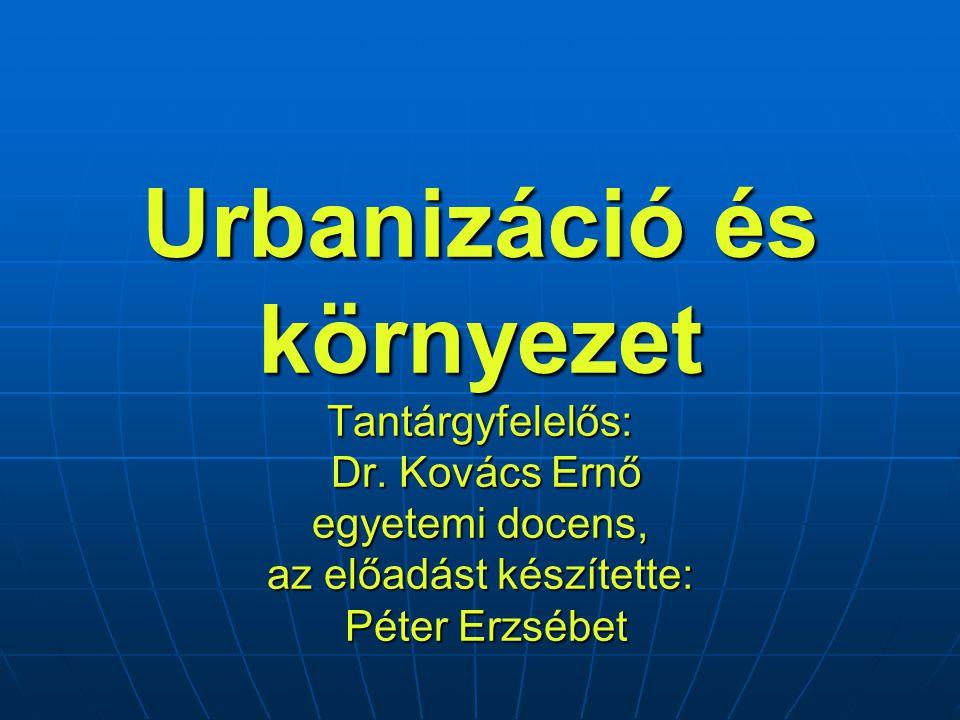 Urbanizáció és környezet Tantárgyfelelős: Dr.